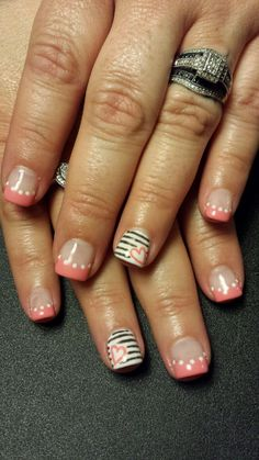 Pink French tip, heart, stripes, fun nails