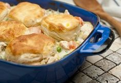 This easy chicken and biscuits recipe features an enticing sauce made with cream of potato and cream of broccoli soups, and is topped with golden biscuits for a real home-style flavor. This great Campbell's Kitchen recipe is on the table in just 45 minutes. With dinner recipes this easy you'll never have to worry.