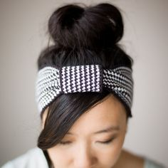 "Crochet this chic and modern ""Black & White Knotted Headband"" to wear with your updos or go for a boho look with your hair down!"