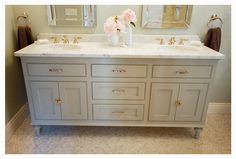 cabinet color BM fieldstone | paint cabinets this color in upstairs baths and go neutral on walls