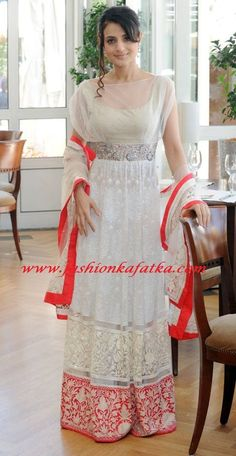 Ameesha Patel Style White Floor Length Anarkali