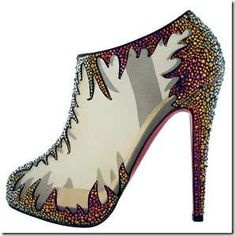 Bedazzled Rainbow Heels / Booties The Christian Louboutin Fall 2010 Shoe Collection #CL #Louboutins #Shoes