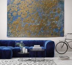 Gold Textured I. Abstract Paintings Art, Extra Large Abstract Blue Gold Contemporary Canvas Art Print up to by Irena Orlov Star Painting, Blue Abstract Painting, Abstract Wall Art, Acrylic Painting Canvas, Canvas Art Prints, Abstract Paintings, Large Artwork, Gold Texture, Your Paintings