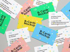 Here's a new b-cards mock-up with several business cards scattered across the scene. The PSD file allows you to easily...