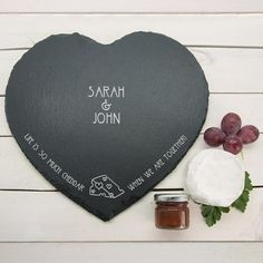 Romantic Pun 'Life is So Much Cheddar' Personalised Heart Slate Cheese – Luxe Gift Store