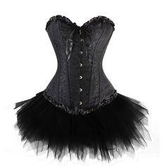 Zanuce Women's Plus Size Lace Up Overbust Corset Bridal Lingerie With Tutu,Black,Small