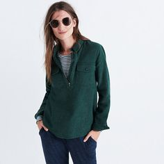 A favorite returns—this timeless pop-on shirt in a supercozy double-brushed flannel that's soft inside and out. Zip up on brisk days or leave it open for a just-a-touch-sexy look. <ul><li>True to size.</li><li>Cotton.</li><li>Machine wash.</li><li>Import.</li></ul>