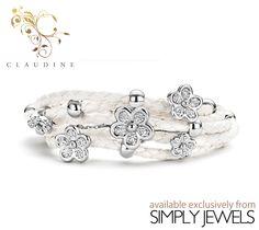 #Claudine White Stones #Leather #Bracelet -xx- #brandnew #jewellery #fashion #style #loveit http://simplyjewels.biz/view_product.php?id=2263
