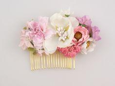 Blumen+Haarkamm+/+Kamm+/+Perlen++von+Lola+White+auf+DaWanda.com