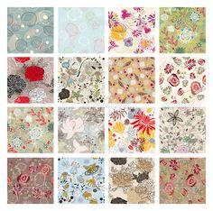 conjunto de fundo floral sem emenda - Ilustração de Stock: 9964999