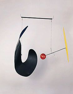 "Untitled (The McCausland Mobile), 1937   Sheet metal, wood, wire, string, and paint   25"" x 23""   National Gallery of Art, Washington, D.C.   A10829 . Calder Foundation"
