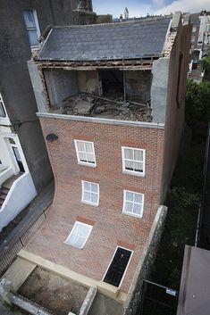 English Building's Brick Facade Playfully Slumps Down - My Modern Metropolis