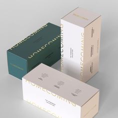 """Kati Forner Design on Instagram: """"Homecoming collection boxes."""" Brand Identity Design, Branding Design, Luxury Packaging, Brand Guidelines, Brand It, Logo Inspiration, Peppermint, Homecoming, Web Design"""