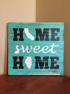 Home Sweet Home Wood Sign - Home Sign With State - Two States Love Art - Gift For Couple - Long Distance Couple - Wedding Gift