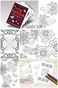 Gemstone Adult Coloring Book With Tutorial 25 Pages Diamond Drawing Guide Pdf
