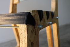 Belt+Box=Chair is a chair made recycling safety belts and wood boxes.