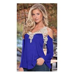 Sexy Blue lace cutout top! Sexy gorgeous blue lace cutout top. Fabulous top with delicate lace around the shoulders that are shown cutout. Soft cotton blend material. Tops
