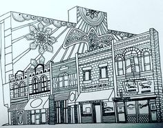We're in love❤❤ with this original drawing of @downtownnorman by @okiecatcreations!