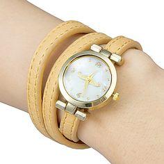 Women's Mustache Pattern Round Dial Elongated PU Band Quartz Analog Bracelet Watch (Assorted Colors) – USD $ 8.49