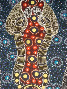 'Dreamtime Sisters' - stunning dot painting by Colleen Bird Wallace a very talented Aboriginal Artist...currently hanging in my living room!