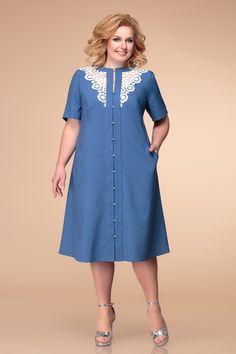 Plus Size Denim Kleid - Outfits Plus Size Dresses, Plus Size Outfits, Casual Dresses, Fashion Dresses, Plus Size Kleidung, One Piece Dress, Chic Dress, African Dress, Chiffon Dress