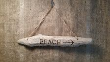 Beach Driftwood Sign -Branding done by hand -18 inches long by 3 inches wide