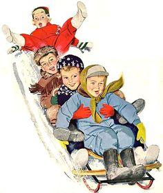 vintage Christmas sledding 1952