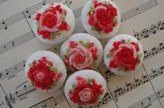 Ombre Red & Pink Handmade Embroidered  buttons