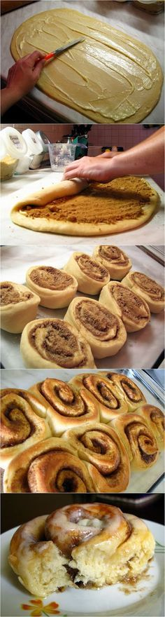 Pão de canela Massa: 1 pac fermento seco, 1 xíc Leite, ½ xíc açúcar, ⅓ xíc manteiga, 1 col chá sal, 2 ovos, 4 xíc farinha Rech: 1 xíc aç masc, 2 ½ col sopa canela, 2 col sopa far, ⅓ xíc manteiga  Dissolva o ferm leite morno. + aç e 1 xíc. far. Mexa, tampa, crescer até dobrar tam 45m. Passe para mesa c/far + demais ingred, sove 5m. Tigela untada, cubra e crescer por 1h. Sv e abra em mesa c/far. Passe mant e mistura de aç. Enrole, corte. Assadeira untada. Crescer 30min Forno 25m