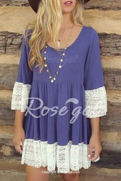 Casual Lace Splicing Loose-Fitting A Line Dress Smock Dress, Dress Skirt, Lace Dress, Dress Up, Boho Dress, Cute Dresses, Dresses With Sleeves, Sleeve Dresses, Dresses Dresses