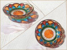 RichanaDragon ||| Glass plate (bowl candle holder) with bright colorful flower-like pattern. (1) Hand painted stained glass.