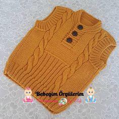 """1,072 Beğenme, 24 Yorum - Instagram'da BEBEK ÖRGÜLERİ SAYFASI (@bebegim_orgulerim): """"Günümüz aydın huzurlu bereketli olsun İNŞALLAH Şehriban hanımın İstanbul/Esenler siperişlerindendi…"""" Lace Knitting, Knitting Stitches, Knit Crochet, Baby Boy Vest, Baby Cardigan, Knitting Patterns Boys, Crochet Patterns, Crochet Clothes, Diy Clothes"""