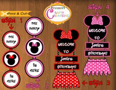 Minnie Mouse Pink & Mickey Mouse Red inspired  WELCOME sign Options - PERSONALIZED - Door Hanger by CraftyCreationsUAE on Etsy https://www.etsy.com/listing/172929372/minnie-mouse-pink-mickey-mouse-red