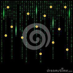 Digital crypto bitcoin matrix background.