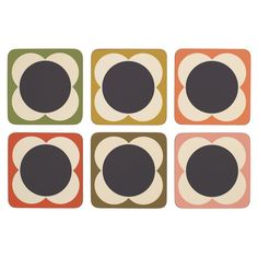 Orla Kiely: Set of 6 Flower Spot print coasters in a variety of Orla's signature colours!