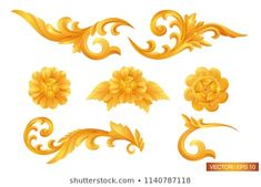 pattern of gold frame carved flower isolated on white background. Gold Ornaments Design, Gold Photo Frames, Thai Pattern, Pattern Images, Thai Style, Pattern Fashion, Royalty Free Stock Photos, Carving, Traditional