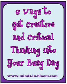 8 Fun Ways to get Creative and Critical Thinking into your Busy Day www.minds-in-bloo. Teaching Activities, Teaching Tools, Teacher Resources, Teaching Ideas, Teaching Art, Craft Activities, Classroom Organization, Classroom Management, Organizing