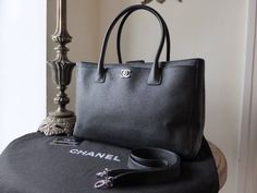 99cac922fb02 Chanel Cerf Executive Tote in Black Calfskin with Silver Hardware - SOLD