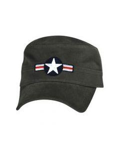 MILITARY CAP, AIRCRAFT INSIGNIA, OLIVE GREEN 642608044552 Shopeddies.com