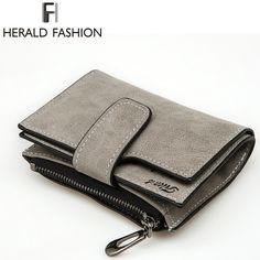 Herald Fashion Lady Letter Zipper Short Clutch Wallet Solid Vintage Matte Women Wallet Fashion Small Female Purse Short Purse #women, #men, #hats, #watches, #belts