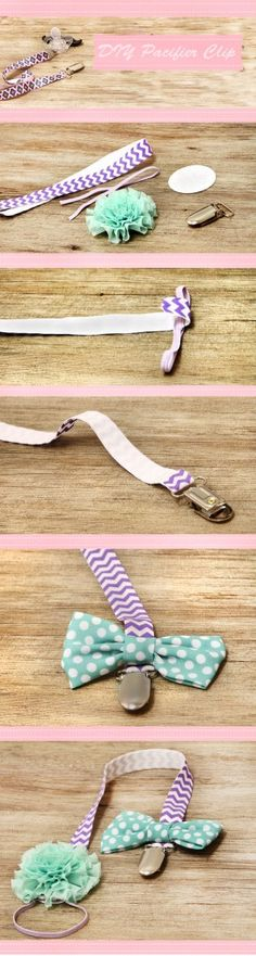 DIY Pacifier Clip: No more dropped or lost baby pacifiers with this easy, no sew tutorial! So cute, and easily customized for holidays, baby showers, or special occasions!