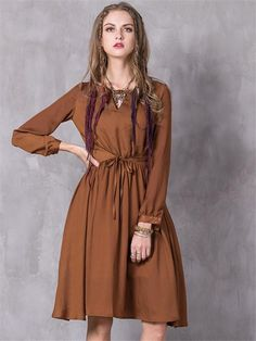 a3f05a100 Spring Hollow Out Lanon Vestido O-Neck Open Fork Collar Lantern Sleeves  Waist Belt Dress