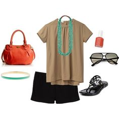 Black shorts, necklace, shoes and match  my nail polish toes to bag <3