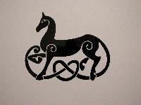 viking horse symbol, decal Hmmmm add a horn and red mane?