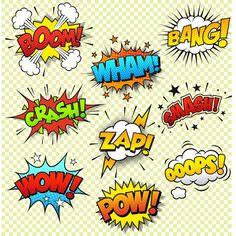 Collection of nine multicolored comic sound Effects.- Collection of nine multicolored comic sound Effects. This Graphic set… Comic effets sonores – Illustration vectorielle - Pop Art, Comic Sound Effects, Comic Art, Comic Books, Typographie Logo, Superhero Party, Superhero Alphabet, Free Vector Art, Vector Graphics