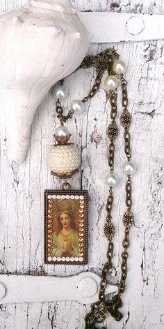 Religious Assemblage Necklace  Christian by SecretStashBoutique