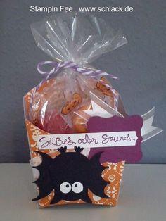 stampin Halloween treat fry box owl bat Punch art eule stanze Fledermaus Pommesschachtel goodie box