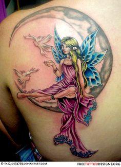 Fairy, moon and doves tattoo