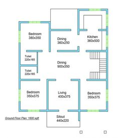 1600 SQ FT Modern Single Floor Home - Galaxyalive Basement House Plans, Duplex House Plans, Bedroom House Plans, House Floor Plans, Modern Bungalow House Design, Small House Design, Cool House Designs, Cheap Tiny House, Indian House Plans