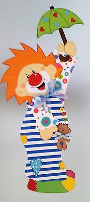 Fensterbild Clown im Nachthemd - Fasching- Karneval-Dekoration - Tonkarton!